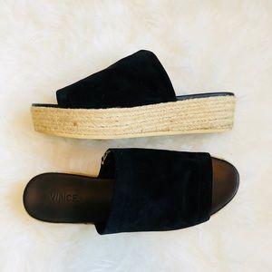 Vince espadrilles black suede platform sandals